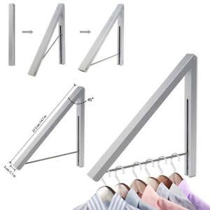 Faltbar-Wandhalter-Kleiderbuegel-Rack-Klapp-Retractable-Halter-Edelstahl-Indoor