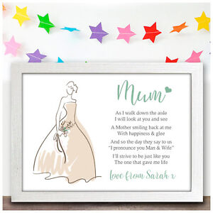 Details Zu Mother Of The Bride Personalised Wedding Thank You Gift Poem For Mum Mam Mummy