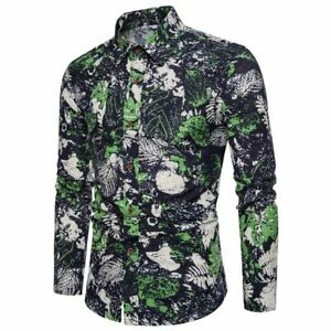 Men-039-s-slim-fit-floral-t-shirt-dress-shirt-long-sleeve-formal-luxury-stylish