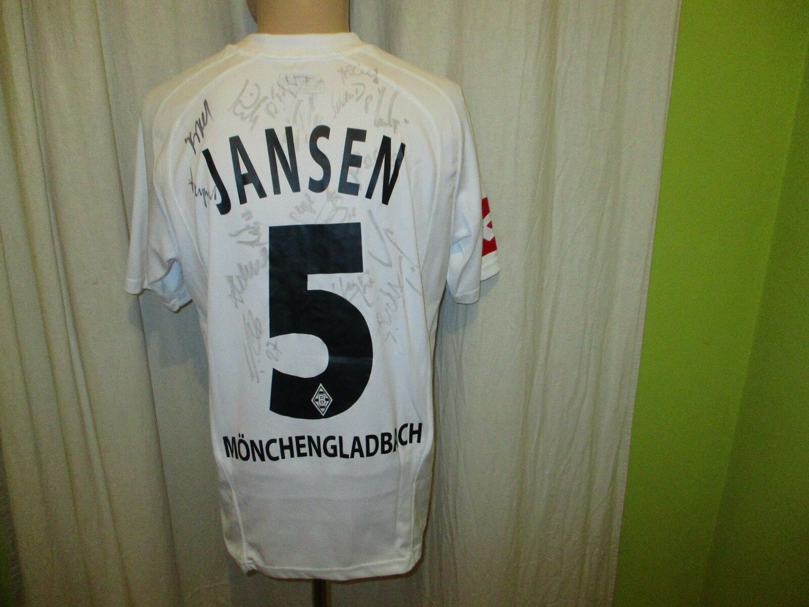 Borussia Mönchengladbach Jansen Lotto Trikot 2005/06 + Nr.5 Jansen Mönchengladbach + Handsigniert Gr.M 12216c
