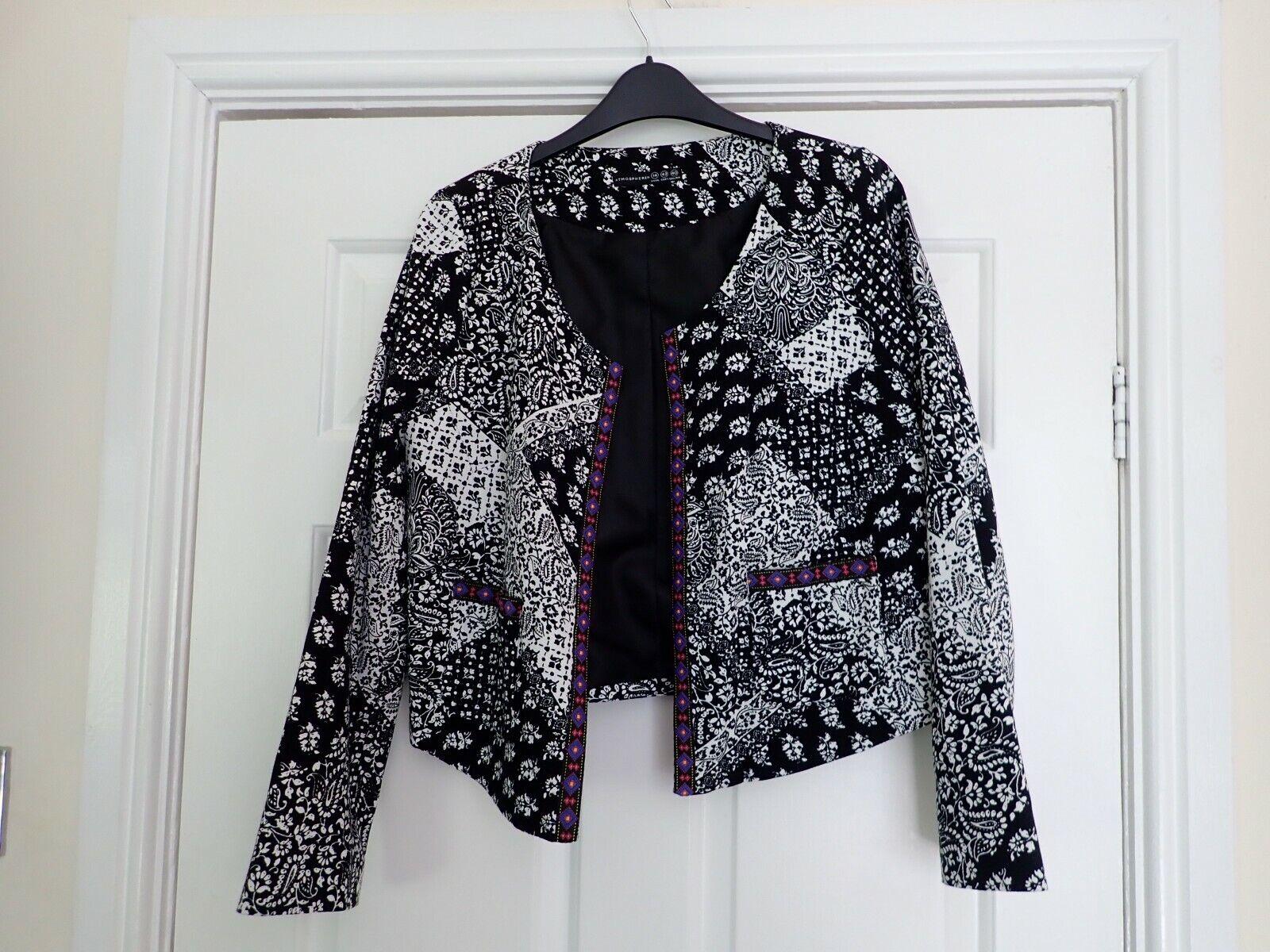Women's Atmosphere Bolero Style Collarless Jacket Coat Size 10 UK NCC