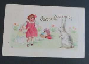 Vintage-Postcard-Series-EASTER-SERIES-Children-Easter-Bunny-Basket-Colored-Eggs