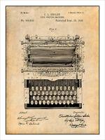 1896 Typewriter Patent Print Art Drawing Poster 18x24