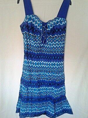 Phool 100/% Cotton sundress faux crossover  neck sleeveless shirring elastic back