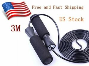 Aerobic-Exercise-Boxing-Skipping-Jump-Rope-Adjustable-Bearing-Speed-Fitness-BLK