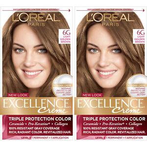 Details About L Oreal Paris Excellence Creme Permanent Hair Color 6g Light Golden Brown 2 Pack