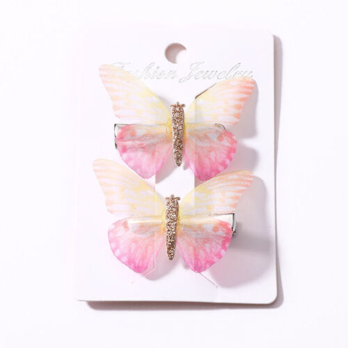 2PCS Butterfly Hair Clips Beautiful Girls Baby Hairpin Hair Accessories Colorful