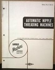 Brochure Automatic Nipple Threading Machine Landis Machine Company