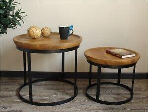 Beistelltisch Couchtisch Tisch Set Rund Skandinavisches Design Holz