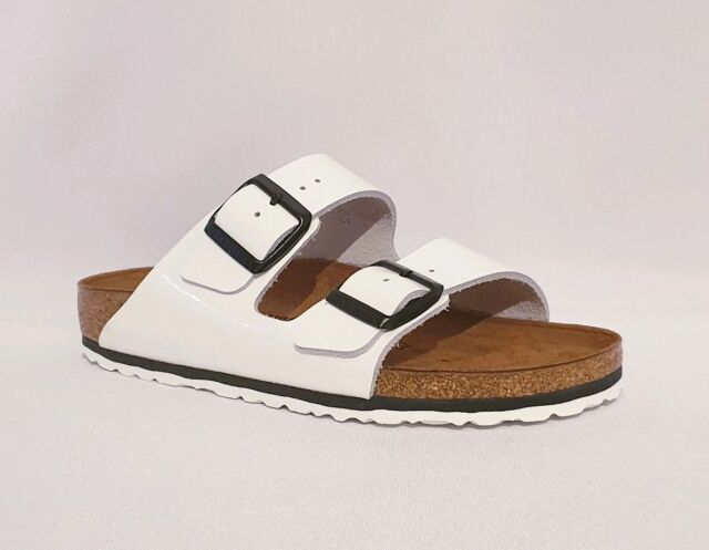 BIRKENSTOCK ARIZONA BS WHITE GENUINE PATENT LEATHER DOUBLE STRAP SANDALS WOMENS