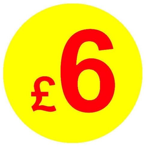 £10 £5 Sticky Swing Tag Labels £1 20mm Red /& Yellow Price Point Stickers