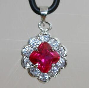 Elegant-Created-Princess-Ruby-amp-Diamond-Pendant-Necklace