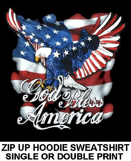 AMERICAN RELIGIOUS PRIDE GOD BLESS AMERICA EAGLE FLAG ZIP HOODIE SWEATSHIRT W615