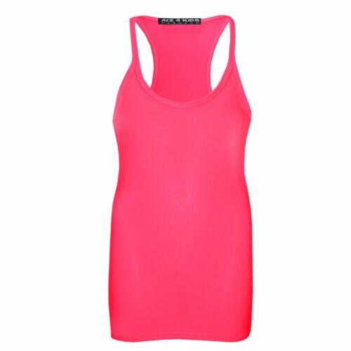 Kids Girls Racer Back Vest Neon Pink Top Stylish Fashion Tank Tops T Shirt 5-1