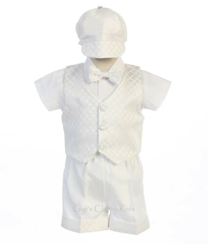 New Baby Toddler Boys White Shantung Jacquard Shorts Set Christening Baptism Jas