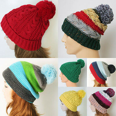 Women Men Unisex-Fold Up Cable Knit Pom-Pom Striped Bobble Skull  Beanies Hat