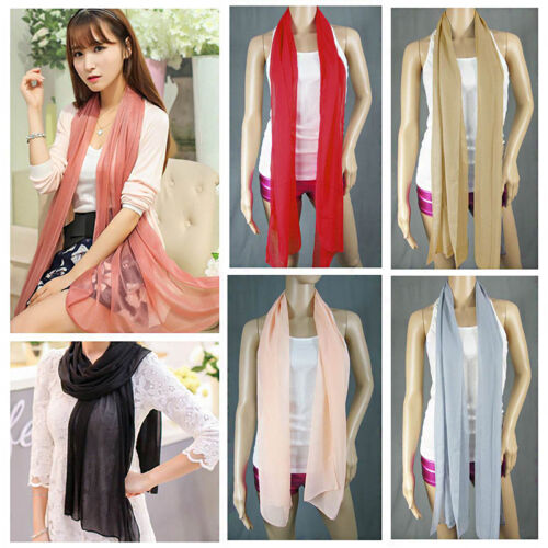 Fashion Ladies Long Plain Chiffon Neck Scarf Scarves Wrap Soft Stole Shawl 160cm