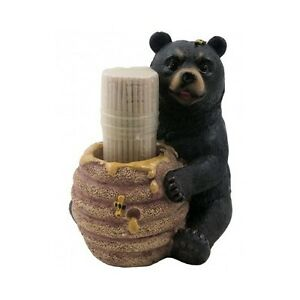 Details about Black Bear Kitchen Toothpick Holder Cabin Lodge Decor Rustic  Decoration Gift New