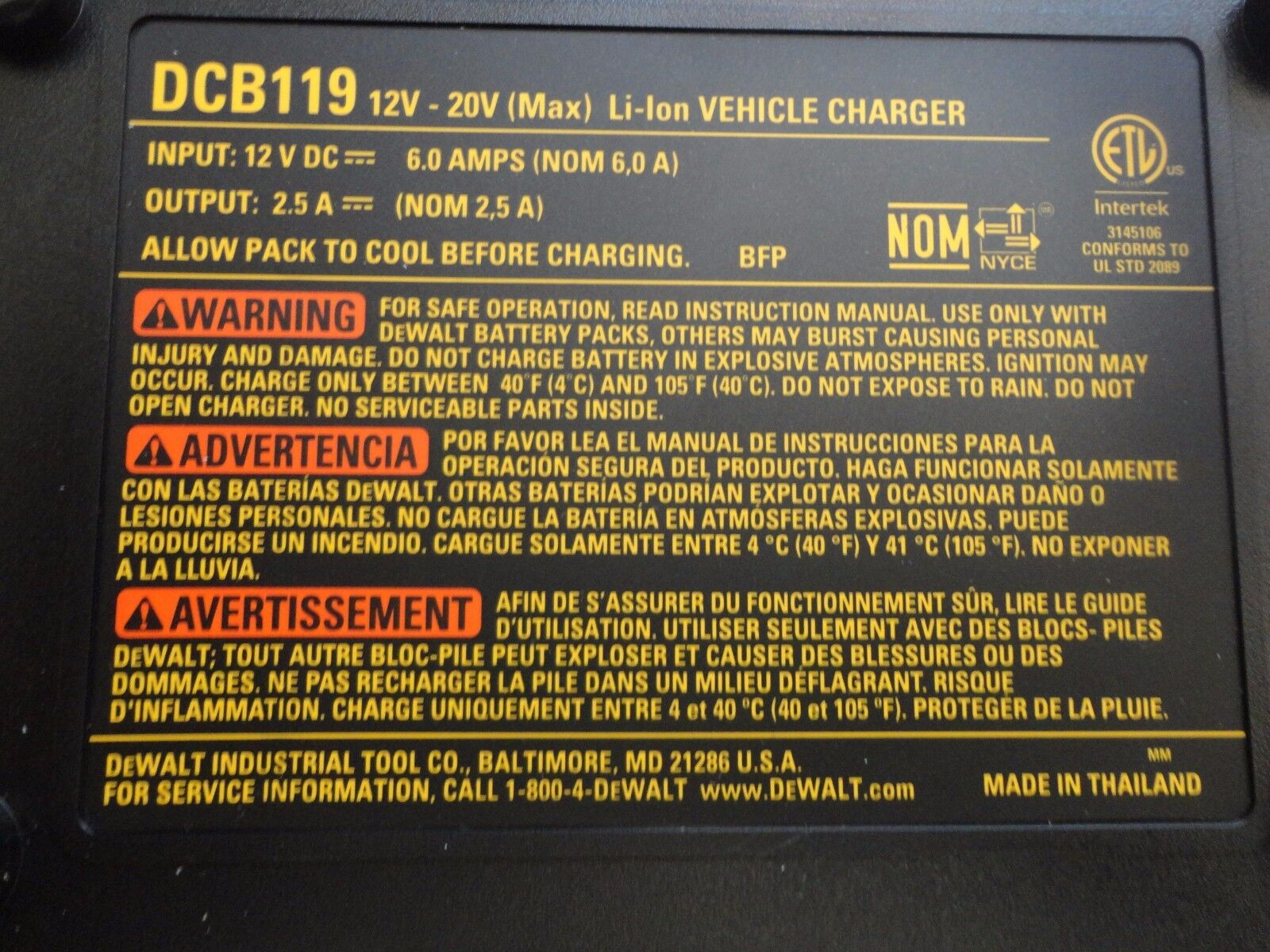 Dewalt DCB119 12 Volt 20 Volt Lithium Ion Vehicle