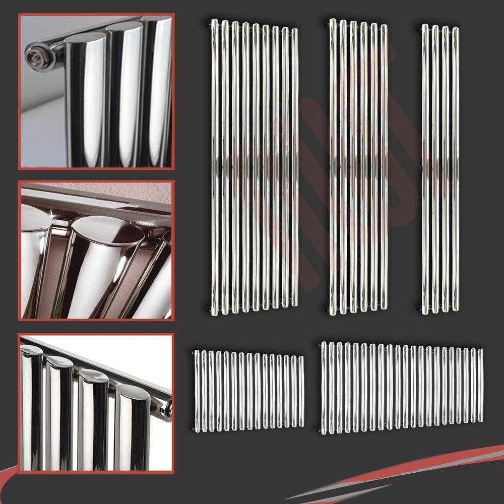 Brecon Oval Tube Grünical & Horizontal Designer Chrome Radiators, Single Panels