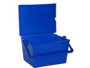 1 blue tote plastic container treasure box crayon holder mfg usa