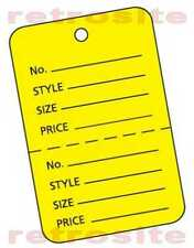 1000 Large Price Hang Tags Without Strings Unstrung Yellow 2 Part Perforated