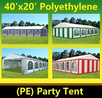 Pe Party Tent 40'x20' - Heavy Duty Party Wedding Outdoor Shelter - Color Tents