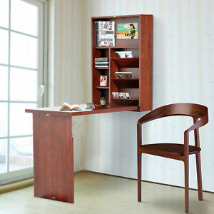 Fold-Out-Convertible-Desk-Wall-Mounted-Table-Cabinet-Workstation-Walnut