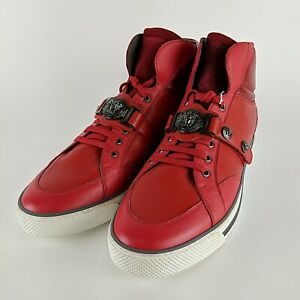VERSACE-Leather-amp-Suede-Red-Medusa-Buckle-Strap-High-Top-Sneakers-Size-12-New
