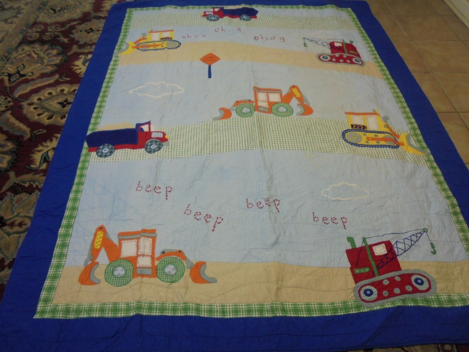 Cute Boy's Applique Work Toys Quilt