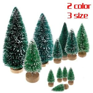 5X-Mini-Sisal-Bottle-Brush-Christmas-Tree-Snow-Frost-Santa-Village-Putz-House-hi