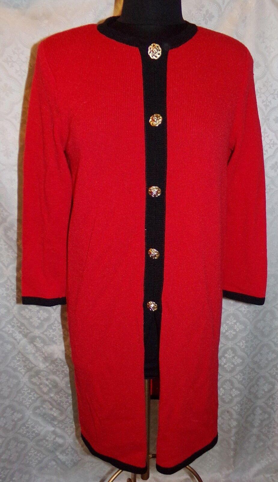 Leamond Dean Knit Dress Womens Dress Cardigan Sweater Red S   M