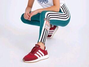 31c9fdf53b4f3 Image is loading Adidas-Originals-Adibreak-Archivel-3Stripes-Green-Leggings -Size-