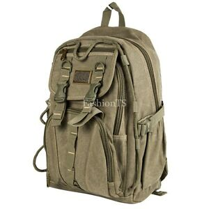 Aoking Military Canvas Backpack School Bag Laptop Padding