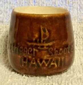 Vintage Souvenir Outrigger Shooter Hawaii Pineapple Shot Glass Brown Ceramic