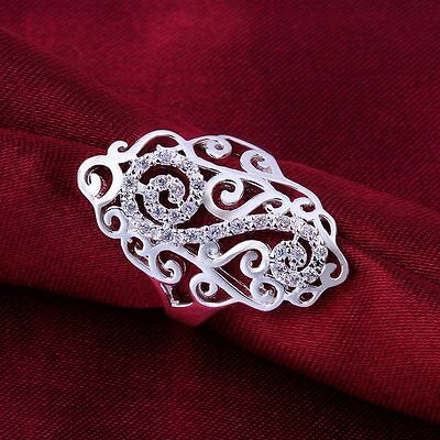 925 Sterling Silver ladies Classical Fashion Crystal Rings Jewelry free shipping