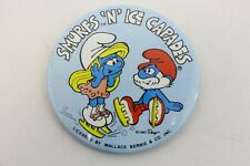 Vintage Smurfs N Ice Capades Round Button Pinback Wallace Berrie 1983