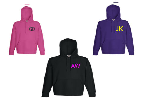 YOUR INITAL OR NAME ON HOODIE ALL SIZES AND COLOURS S TO 2XL