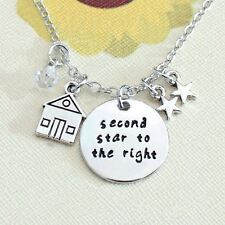 925 Silver Plt 'Second Star To The Right' Engraved Necklace Peter Pan 2Nd A