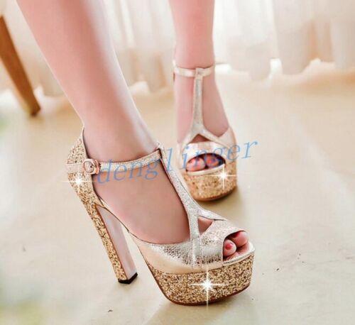 Women T Strap Platform Sandals High Heels Wedding Shoes Peep Toe Fashion NEW HOT