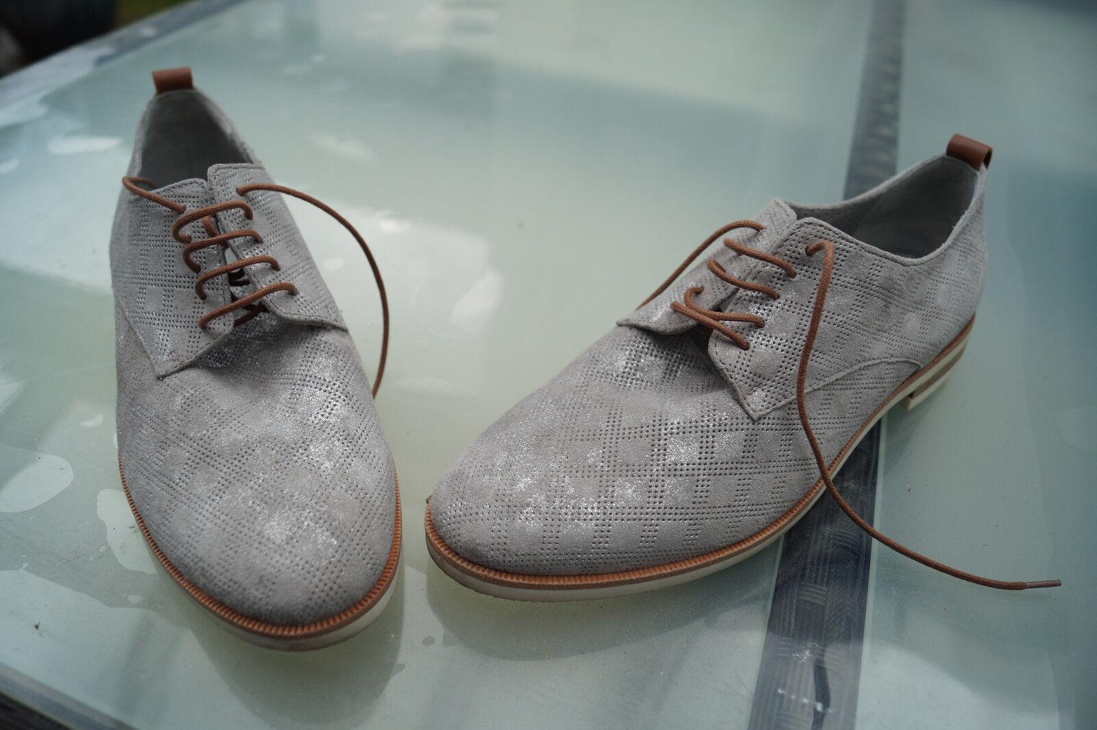 edle MARIPE Damen Schuhe Scnürschuhe Leder Luxus Gr.37,5 silber grau wie Neu #89