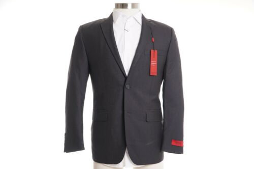 Alfani RED Gray Striped Slim Fit Two Button 100/% Wool Suit Jacket Blazer