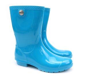 77dc4f2f978 UGG Australia Sienna Enamel Blue Classic Rubber Sheepskin Rain Boots ...