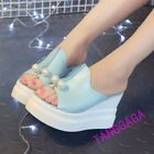 New Womens Sandals Open Toe Mules Slippers Wedge High Heels Platform Pumps Shoes