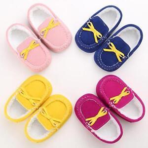 Newborn Baby Kids Girl Bow Moccasin Soft Crib Sole Toddler Prewalker Warm Shoes