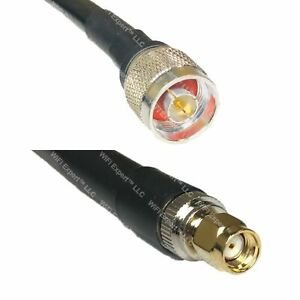 USA-CA LMR400 N MALE to RP-SMA MALE Coaxial RF Pigtail Cable