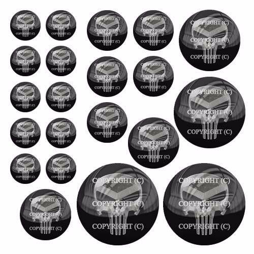 21 Premium Domed Round 3M Decal Sticker Set Car Truck Punisher Metal Skull
