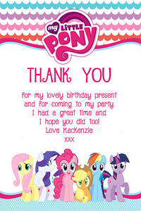 Image Is Loading Personalised My Little Pony Birthday Party Thank You
