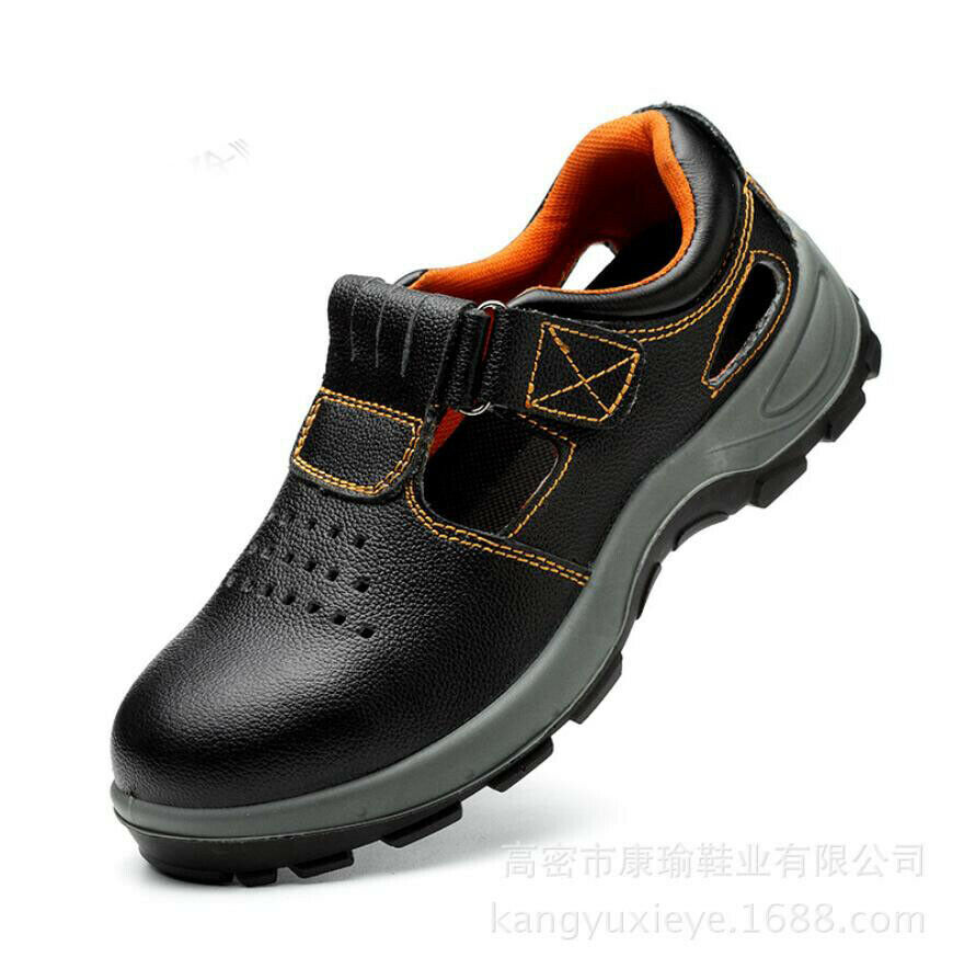 Mens Summer Breathable Leather Steel Toe Safety Sandals Work Hiking Boots shoes