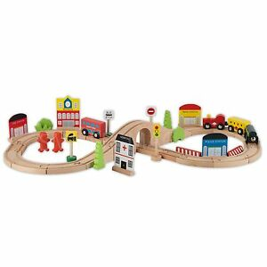 Chad Valley 75 Piece Wooden Train Set Track fits in Brio ELC Thomas ...